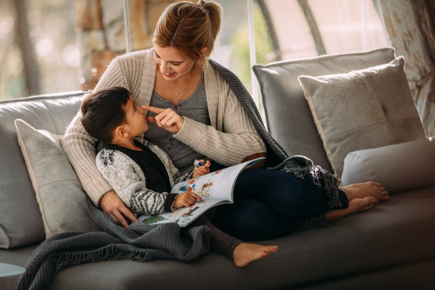 Mother and son sitting on couch